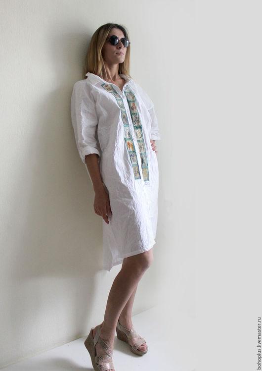 """Платья ручной работы. Ярмарка Мастеров - ручная работа. Купить Платье рубашка """"Гербарий 3"""". Handmade. Белый, белоснежный"""