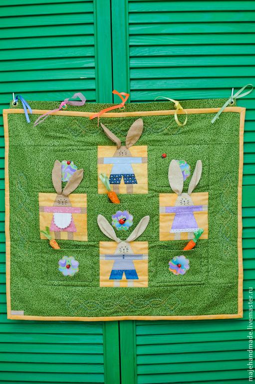 """Детская ручной работы. Ярмарка Мастеров - ручная работа. Купить Панно """"Веселые зайчата"""". Handmade. Панно, детская комната"""
