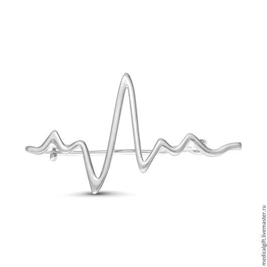 Броши ручной работы. Ярмарка Мастеров - ручная работа. Купить Брошь Пульс (ЭКГ), серебро 925 пробы.. Handmade. Серебряный