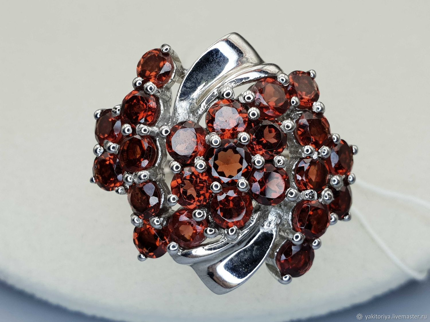 Silver ring with garnets, Rings, Moscow,  Фото №1
