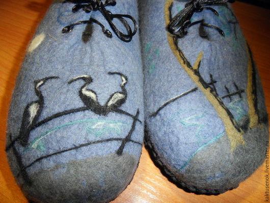 """Обувь ручной работы. Ярмарка Мастеров - ручная работа. Купить Мужские тапочки  """" В ожидании рыбалки"""". Handmade. Серый"""