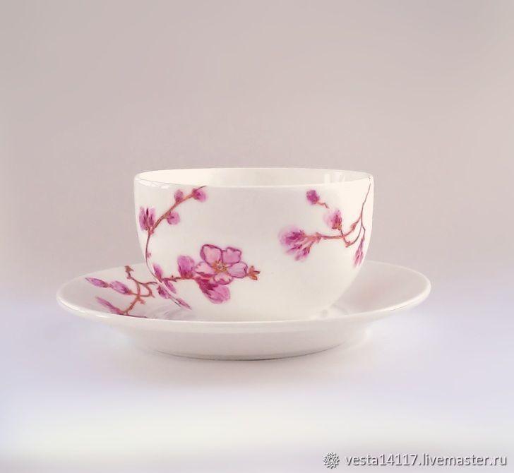 Цветущий сад, чайная пара, фарфор, Чайные пары, Екатеринбург, Фото №1
