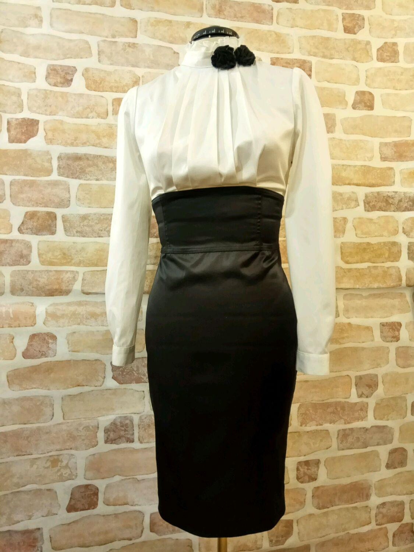 d8b00cc1982 Платья ручной работы. Ярмарка Мастеров - ручная работа. Купить Чёрно белое офисное  платье.