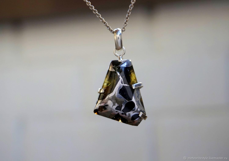 Pallasite meteorite, meteorite necklace, meteorite pendant, Pendants, Obninsk,  Фото №1