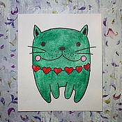 Открытки ручной работы. Ярмарка Мастеров - ручная работа `Green cat`. Handmade.