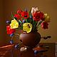 Картины цветов ручной работы. Ярмарка Мастеров - ручная работа. Купить Натюрморт с тюльпанами. Handmade. Дорогая живопись, дорогое украшение