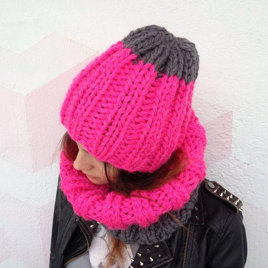 Комплекты аксессуаров ручной работы. Ярмарка Мастеров - ручная работа. Купить Комплект шарф и шапка из полушерсти розово-серый. Handmade.