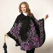 """Одежда ручной работы. Ярмарка Мастеров - ручная работа Пончо """"Лиловые розы"""". Handmade."""
