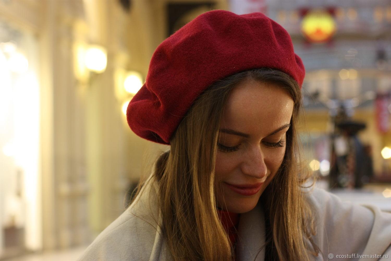 Beret made of wool Australian Merino, Berets, Moscow,  Фото №1