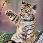 Картины и панно ручной работы. Ярмарка Мастеров - ручная работа картина пастелью Маленький тигр. Handmade.