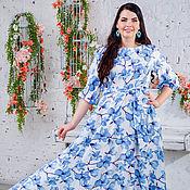 Платье Сабрина голубые цветы.52-64 размеры