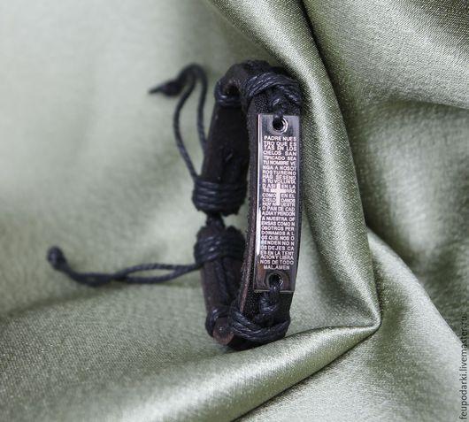 """Браслеты ручной работы. Ярмарка Мастеров - ручная работа. Купить Кожаный браслет """" Вера"""". Handmade. Черный, недорогое украшение"""