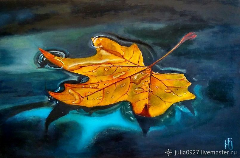 Oil painting Autumn leaf yellow maple leaf hyperrealism on canvas, Pictures, Ekaterinburg,  Фото №1