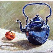 """Картины и панно ручной работы. Ярмарка Мастеров - ручная работа Картина. Натюрморт """"Синий чайник"""" (пастель). Handmade."""