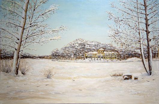"""Пейзаж ручной работы. Ярмарка Мастеров - ручная работа. Купить Картина - """"Зима в Кузьминках"""". Handmade. Пейзаж, пруд, Снег, сугробы"""