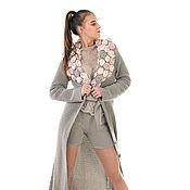 Пальто вязаное крючком кардиган Бохо из кашемира с шелком и шорты.