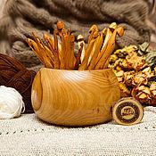 Набор деревянных крючков для вязания 25 шт (3-20 мм) + КЛУБОЧНИЦА #KN6