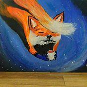 """Картины ручной работы. Ярмарка Мастеров - ручная работа Картина """"Лис  в ночном небе"""", Абстракция. На холсте 30х40 см. Handmade."""