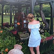"""Одежда ручной работы. Ярмарка Мастеров - ручная работа летнее платье """"Blue silk"""", нуновойлок. Handmade."""