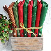 Материалы для творчества ручной работы. Ярмарка Мастеров - ручная работа Новогодняя  ткань красно-зеленая. Handmade.
