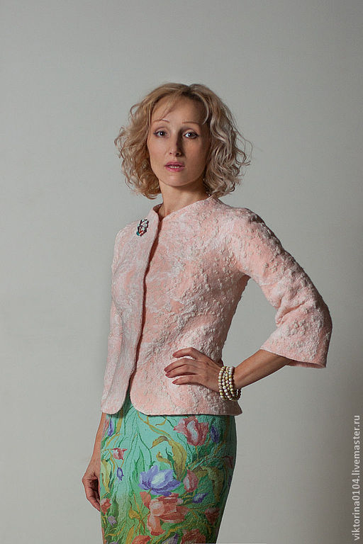 """Пиджаки, жакеты ручной работы. Ярмарка Мастеров - ручная работа. Купить Жакет валяный """"Фруктовый коктейль"""". Handmade. Бледно-розовый"""