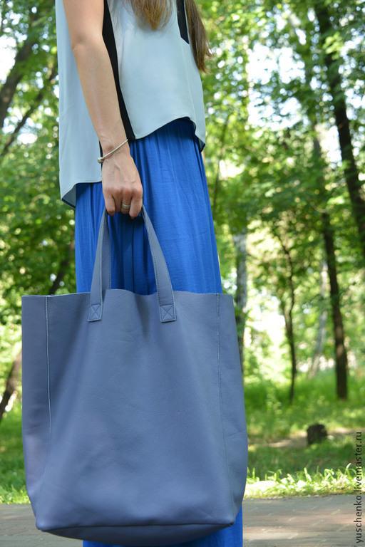 Женские сумки ручной работы. Ярмарка Мастеров - ручная работа. Купить Кожаная сумка. Handmade. Синий, сумка на каждый день