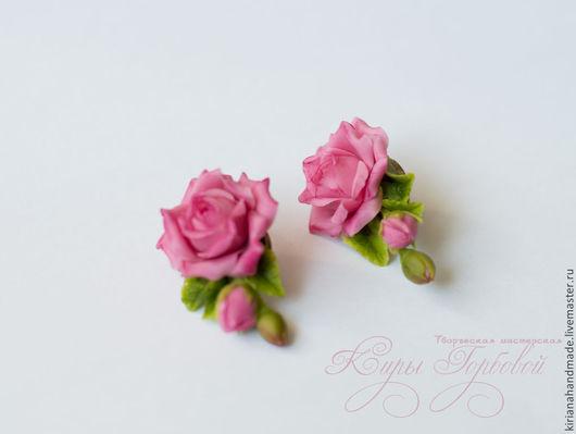 Серьги ручной работы. Ярмарка Мастеров - ручная работа. Купить Серьги с веточками розовой розы. Handmade. Розовый, розы из глины
