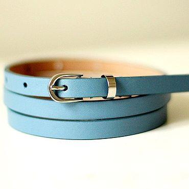 Accessories. Livemaster - original item Copy of Copy of Leather blue belt. Handmade.