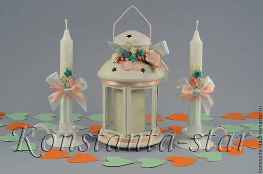 Свадебные аксессуары ручной работы. Ярмарка Мастеров - ручная работа. Купить Свадебные свечи мятные   с подсвечником -фонариком. Handmade.