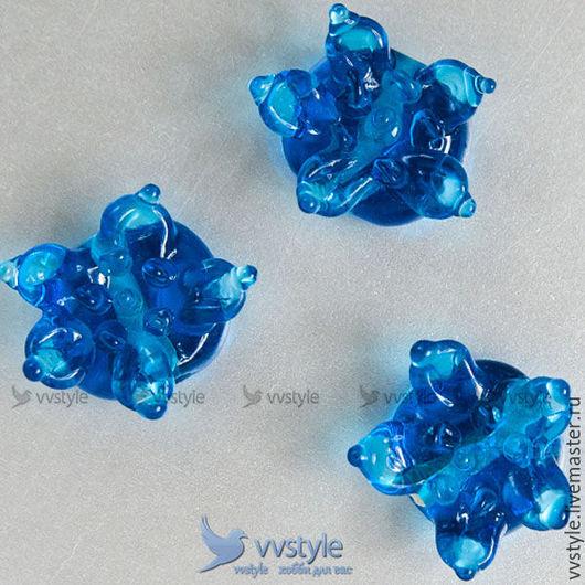 Для украшений ручной работы. Ярмарка Мастеров - ручная работа. Купить Бусина Цветок Синий лампворк стекло 1шт. (bl-84402-116). Handmade.