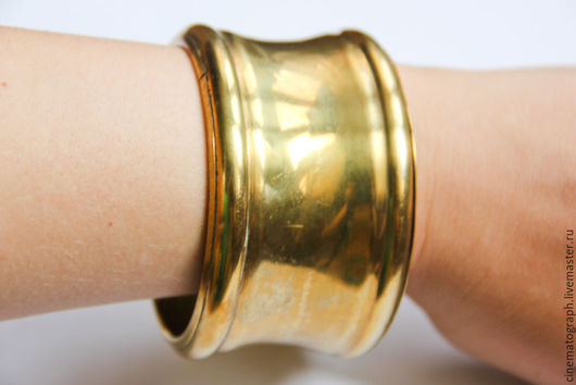 Винтажные украшения. Ярмарка Мастеров - ручная работа. Купить Массивный браслет FRANCE винтаж. Handmade. Золотой, винтаж, латунь, латунь