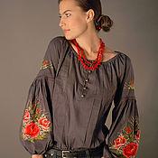 """Одежда ручной работы. Ярмарка Мастеров - ручная работа Серая вышитая блуза """"Очарование роз"""" ручная вышивка гладью. Handmade."""