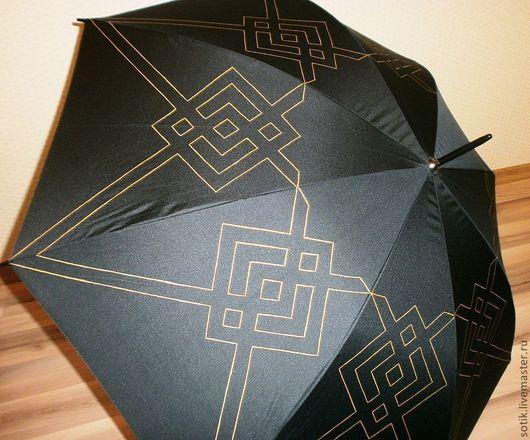 """Зонты ручной работы. Ярмарка Мастеров - ручная работа. Купить Символ любви и страсти """"Купало"""" (роспись зонта). Handmade. Черный"""