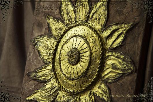 """Символизм ручной работы. Ярмарка Мастеров - ручная работа. Купить Панно """"Богатство солнца"""". Handmade. Золотой, золотое солнце, коричневый"""