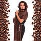 Палантин из кашемира кофейного оттенка