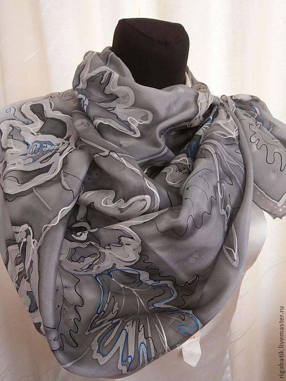 Handkerchief Grey silk flower, Shawls1, Riga,  Фото №1