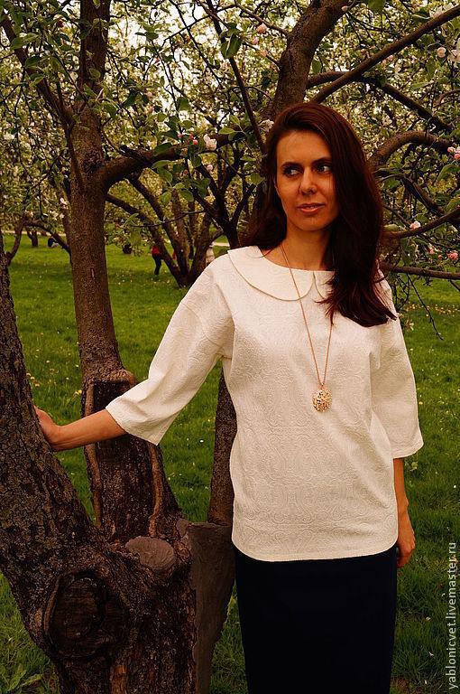 Блузки ручной работы. Ярмарка Мастеров - ручная работа. Купить блуза из итальянского жаккарда. Handmade. Белый, блузка женская