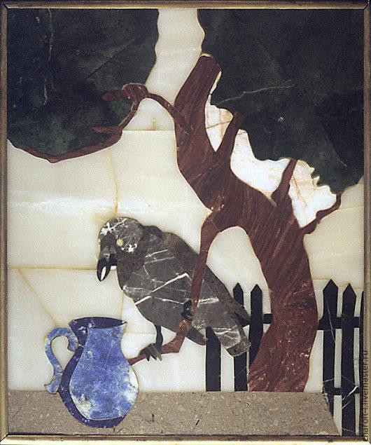 Животные ручной работы. Ярмарка Мастеров - ручная работа. Купить Панно из уральских самоцветов Любопытство. Handmade. Разноцветный, мозаика из камней