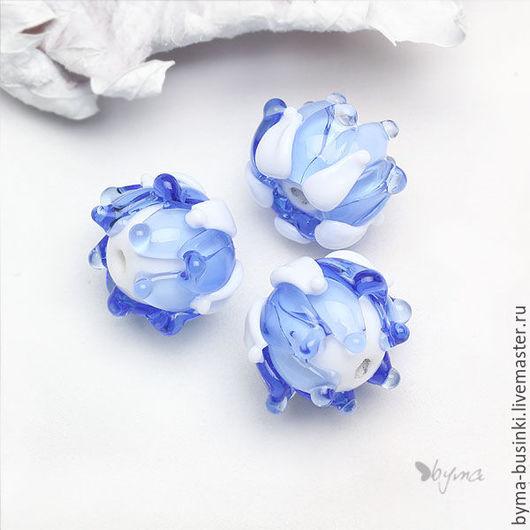 стеклянные бусины бутоны лэмпворк голубые купить