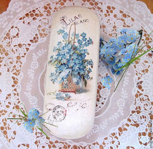 """Очки ручной работы. Ярмарка Мастеров - ручная работа. Купить Очечник """"Воспоминания"""". Handmade. Голубой, старинная открытка, подарок женщине"""