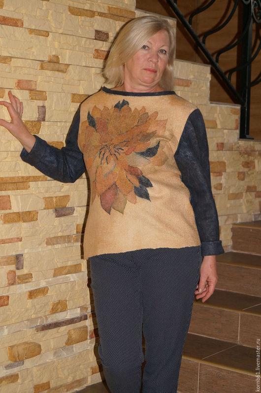 """Кофты и свитера ручной работы. Ярмарка Мастеров - ручная работа. Купить свитер валяный  """" Осенняя рапсодия"""" nunofelt. Handmade."""