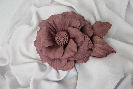 """Броши ручной работы. Ярмарка Мастеров - ручная работа. Купить Брошь """"Пепельная Роза"""". Handmade. Розовый, подарок, брошь из кожи"""