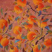 """Аксессуары ручной работы. Ярмарка Мастеров - ручная работа батик платок """"Апельсины и ящерки"""". Handmade."""