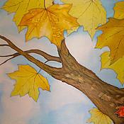 """Картины и панно ручной работы. Ярмарка Мастеров - ручная работа Панно батик """"Осень"""". Handmade."""