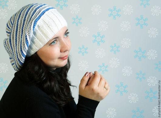Шапки ручной работы. Ярмарка Мастеров - ручная работа. Купить Вязанная шапочка полосками. Handmade. Синий, рисунок, теплый