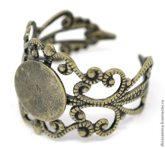 Кольцо винтаж - основа, универсальный размер - цвет античная бронза с кругом д8мм - цвет серебро с кругом д8мм