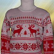 """Одежда ручной работы. Ярмарка Мастеров - ручная работа Тату-свитер - """"Серенада со снежинками"""" бело-красный. Handmade."""