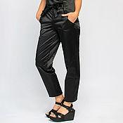 Одежда handmade. Livemaster - original item Black trousers made of satin cotton (art. One thousand eleven). Handmade.