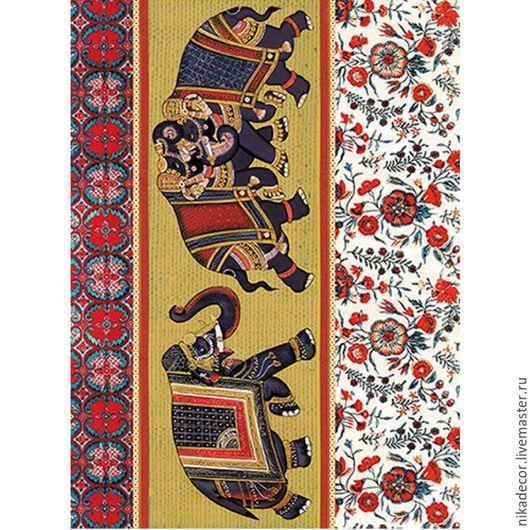 Декупаж и роспись ручной работы. Ярмарка Мастеров - ручная работа. Купить Индийские слоны (CP08516) - рисовая бумага, А3. Handmade.