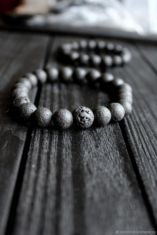 Bracelet from lava stone 'Volcano' 10 mm, Bead bracelet, Tambov,  Фото №1